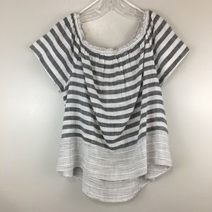 Lucky Brand Gray Stripe Off the Shoulder Top